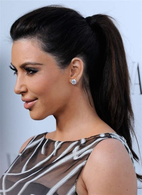kim kardashian hairstyles ponytail hairstyle  straight