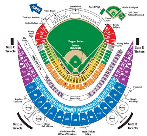 kauffman stadium map seating kansas city royals tickets