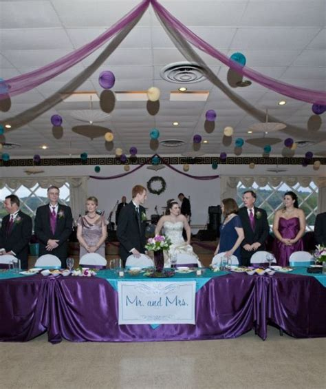 purple and turquoise wedding reception dili s table decorations for a wedding