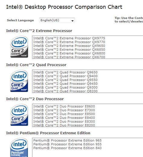 compare mobile processor intel processors comparison