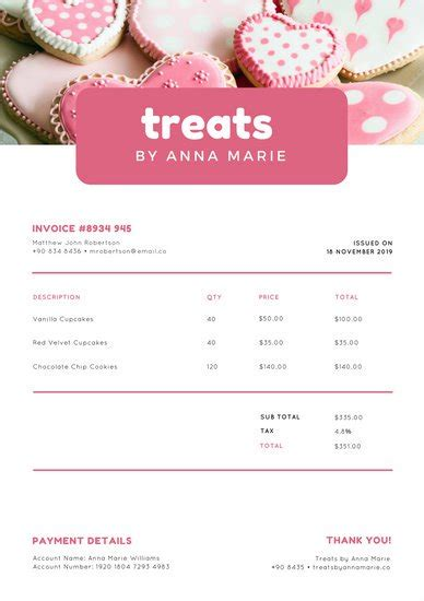 Pink Bakery Photo Invoice Letterhead Templates By Canva Baking Invoice Template