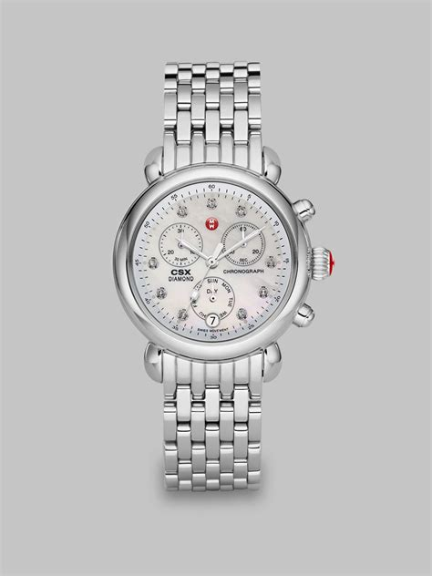 Michele Diamond Stainless Steel Chronograph Watch in Silver   Lyst