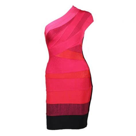 Noble Style Dress sloping shoulder noble style color block polyester bandage