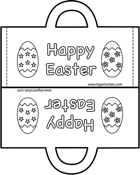 easter bag paper craft black and white template