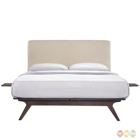platform bed twin tracy mid century upholstered twin platform bed with