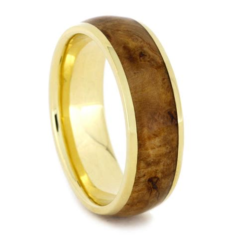gold ring  black ash burl wood ring inlay yellow