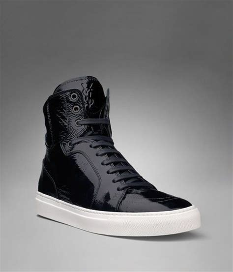 mens black patent leather sneakers ysl malibu high top sneaker in black patent leather
