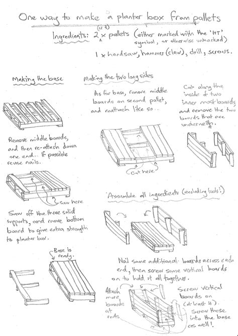instructions  diagrams  building wooden planter