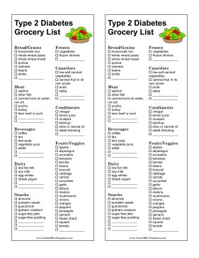 printable diabetic grocery shopping list shopping list type 2 diabetes