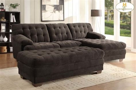 brown microfiber chaise lounge homelegance modern brown tufted plush microfiber sectional