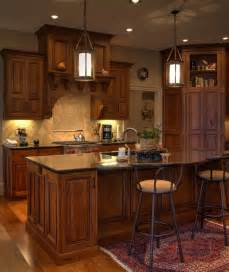 Country Kitchen Island Designs rustic cherry inset cabinetry with stained and glazed