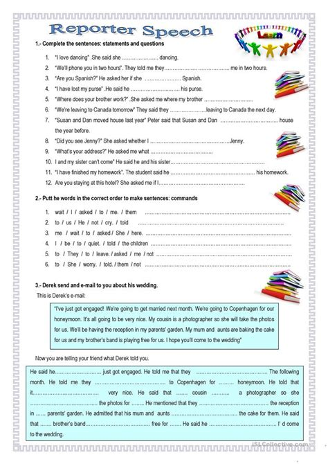 Reporter Speech Worksheet Free Esl Printable Worksheets Speech Printable