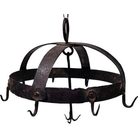 Wrought Iron Pot Rack Hooks 18thc wrought iron hook pot rack from rubylane sold on ruby