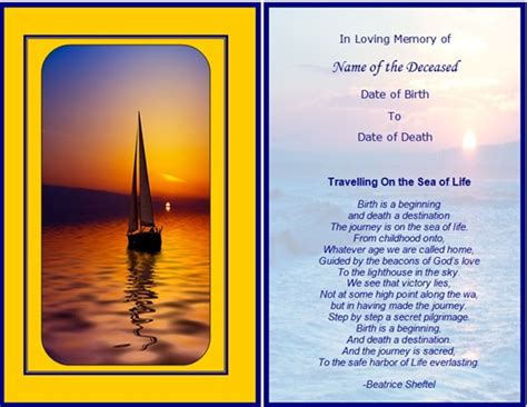 remembrance cards template free remembrance cards template images