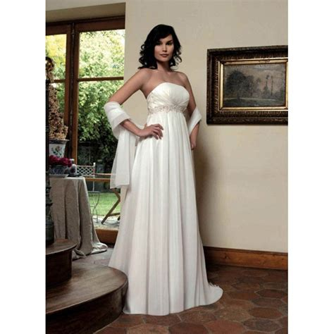 beaded empire waist wedding dress strapless neckline empire waist beaded satin chiffon