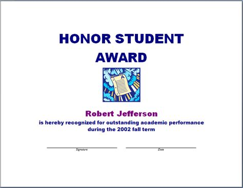 Honor Student Award Template   Free Layout & Format