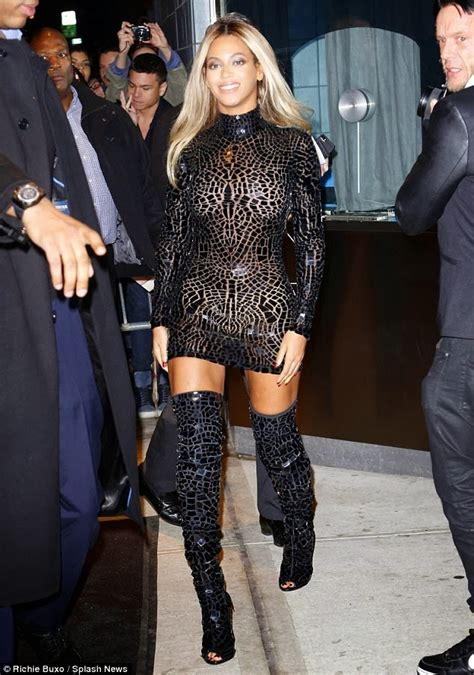 beyonce steps out in see through dress thigh high boots