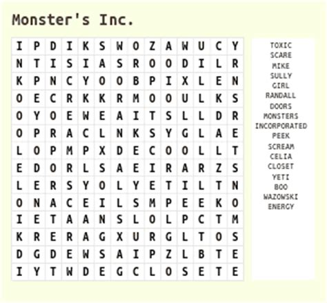 disney animated movies word search
