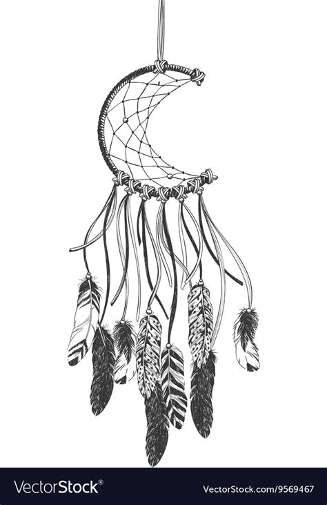 dreamcatcher feathers native american indian dreamcatcher with feathers vector image