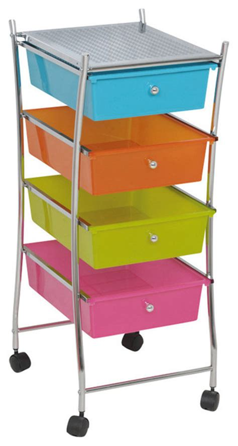 Bathroom Rolling Cart With Drawers Storage Rolling Cart 4 Drawers Organizer Cart Metal Chrome
