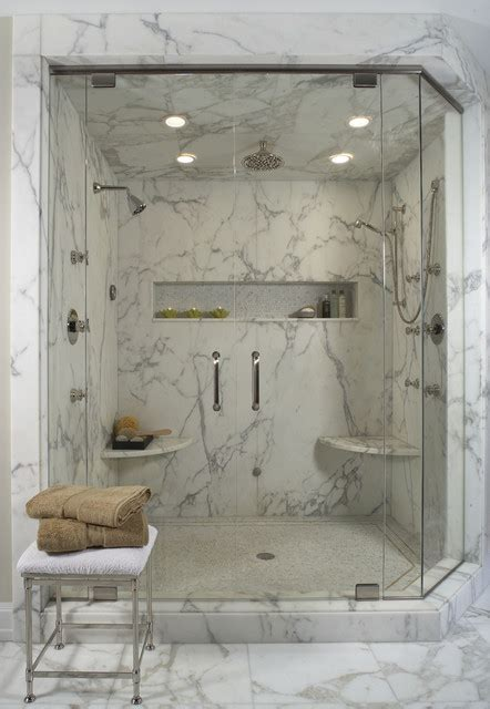 Tub Shower Bathroom Designs White Marble Shower Contemporary Bathroom Detroit