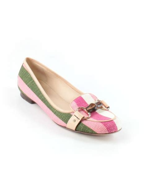 striped flats shoes gucci pink green white canvas bamboo horsebit