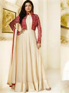 online ivory color pakistani salwar kameez designer wear with jacket