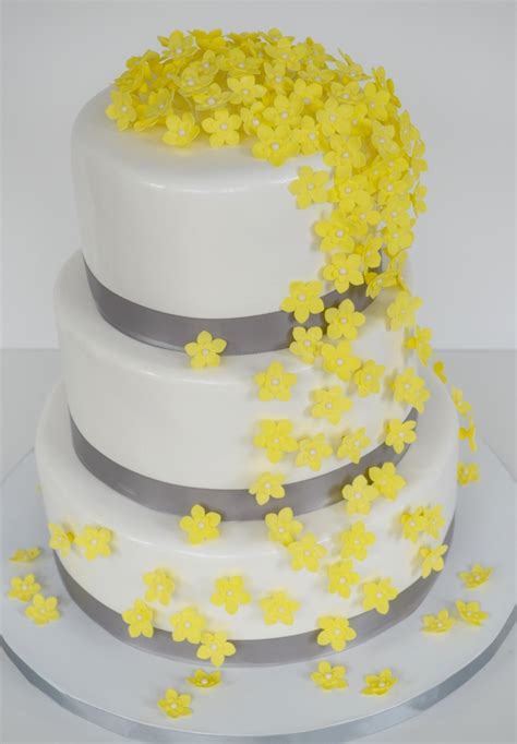yellow flower wedding cake cakecentral