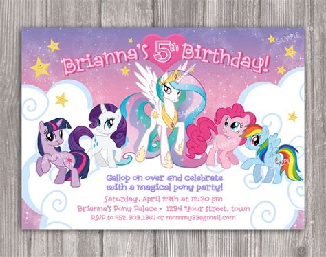 horse birthday party invitations printable or digital file my little pony invitation for birthday party diy print