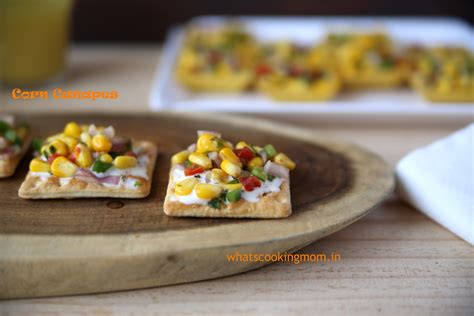 simple vegetarian canapes corn canapes whats cooking
