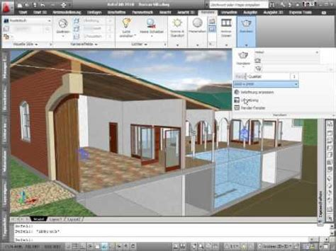 autocad 2007 3d tutorial render autocad 2010 animation render roman villa youtube