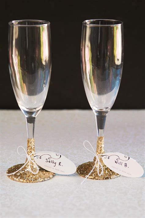 Wedding Favors Glasses by Chagne Glass Favors And Place Cards In One Evermine