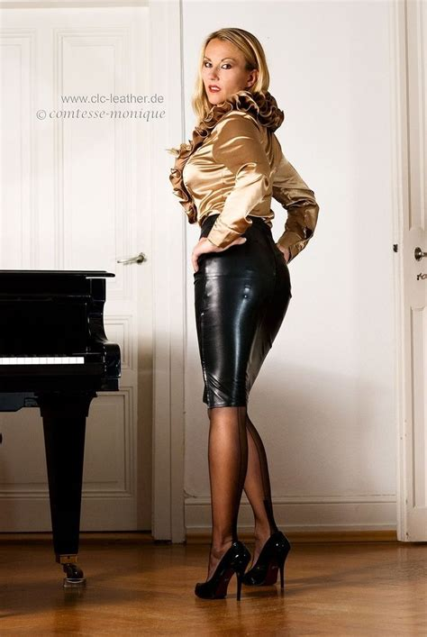 women in tight leather skirts and boots tight black leather pencil skirt with visible garter bumps