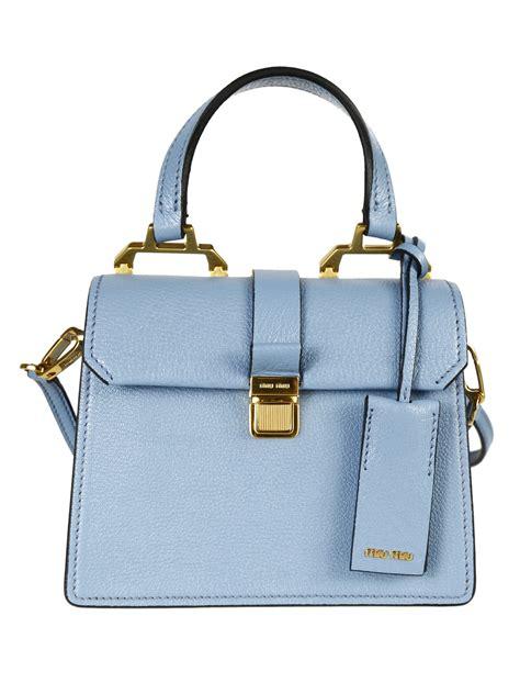 Miu Miu Shoulder Bag by Miu Miu Madras Textured Leather Shoulder Bag In Blue