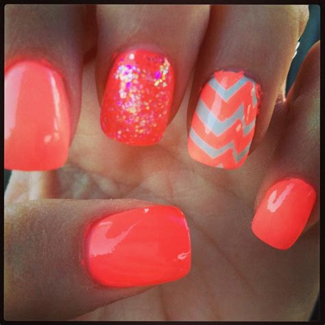 coral pattern nails chevron ombr 233 coral nails nailed it pinterest