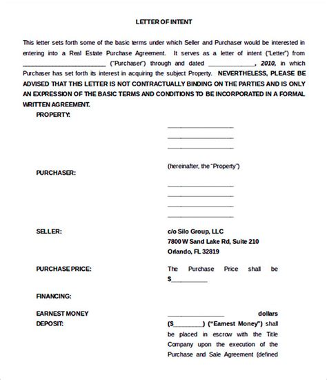 Letter Of Intent Real Estate Doc 15 letter of intent template for both