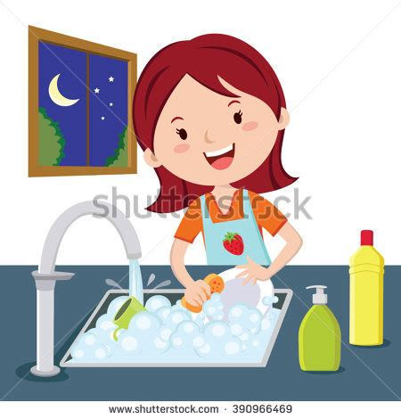 new year washing dishes washing dishes vector washing stock vector