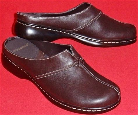 new s dockers darcie brown leather mules clogs slip