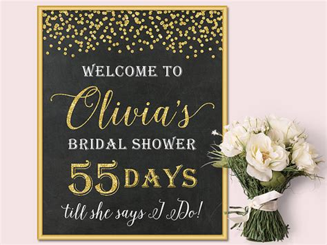 Welcome To Bridal Shower Sign by Chalkboard Bridal Shower Welcome Sign Gold Glitter Confetti