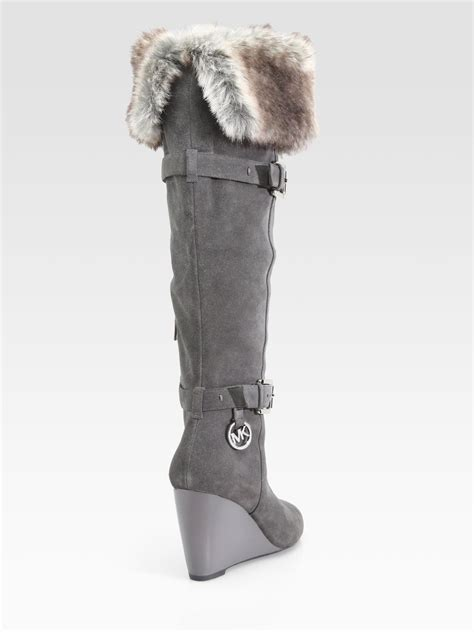michael michael kors lara suede and faux fur wedge boots