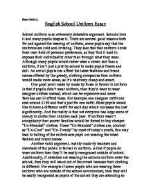 Argumentative Essay No School Uniforms by Uniforms In School Should Teachers Wear Uniforms In
