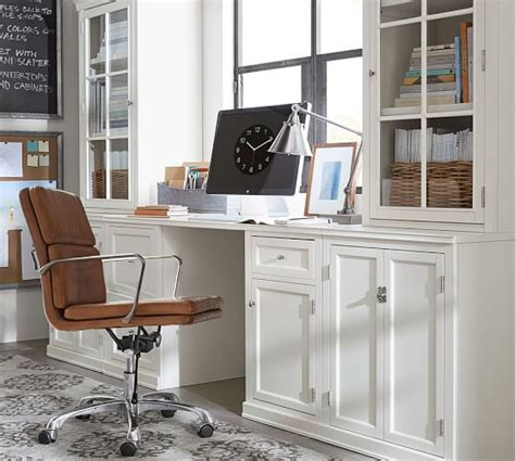 logan small office suite with cabinet doors antique white