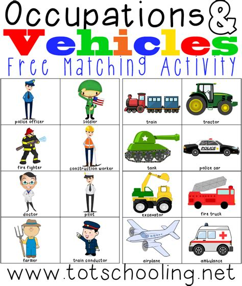 printable images community helpers free occupations vehicles matching activity and