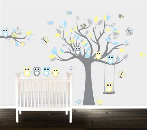 Boys Nursery Wall Decals Boys Grey Yellow Owl Wall Decals Nursery Wall Stickers