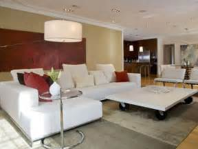 modern living room with red accents hgtv