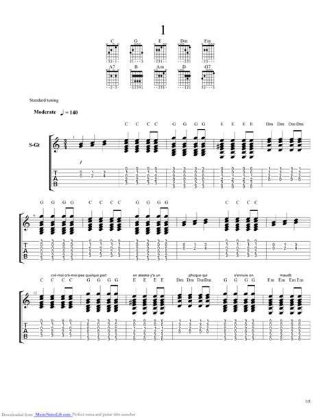 beau dommage la complainte du phoque en alaska partition guitare complainte du phoque en alaska