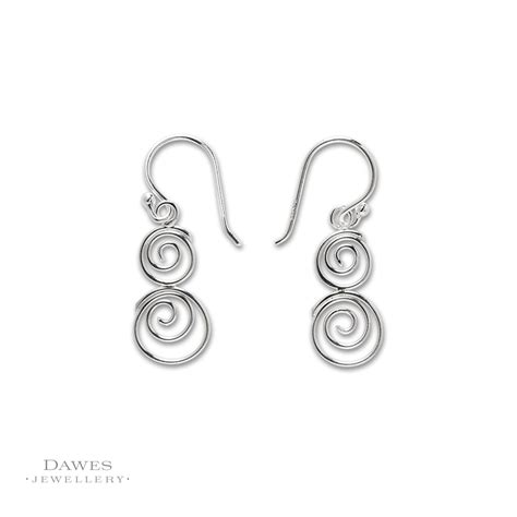 sterling silver spiral drop earrings dawes jewellery