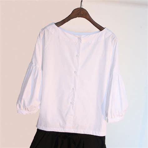 White Retro Casual Top 30025 lantern sleeve blouse womens casual white cotton tops 2017