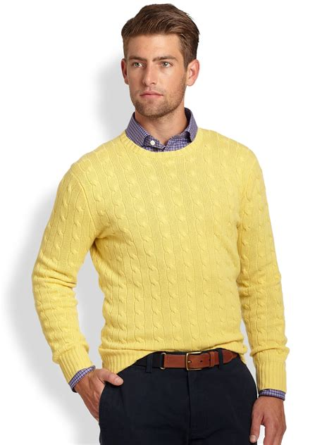Yellow Sweater polo ralph cable knit crewneck sweater in yellow for lyst