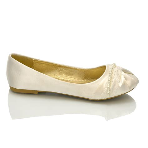 Womens Flat Wedding Shoes by Womens Bridal Shoes Ballerina Lace Pearl Bridesmaid